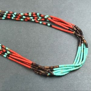Vintage red and turquoise heshi necklace